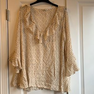 Bell sleeve polka dot blouse